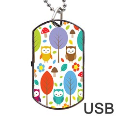 Cute Owl Dog Tag Usb Flash (two Sides) by Nexatart