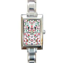 Abstract Peacock Rectangle Italian Charm Watch
