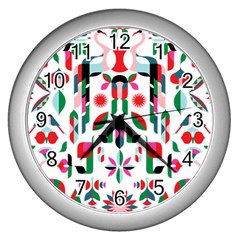 Abstract Peacock Wall Clocks (silver)  by Nexatart