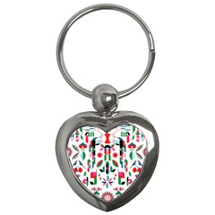 Abstract Peacock Key Chains (heart)  by Nexatart