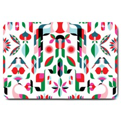 Abstract Peacock Large Doormat  by Nexatart