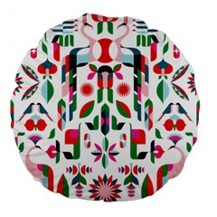 Abstract Peacock Large 18  Premium Flano Round Cushions