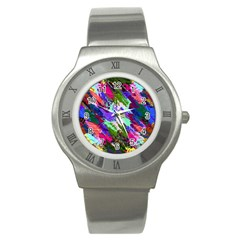 Tropical Jungle Print And Color Trends Stainless Steel Watch by Nexatart