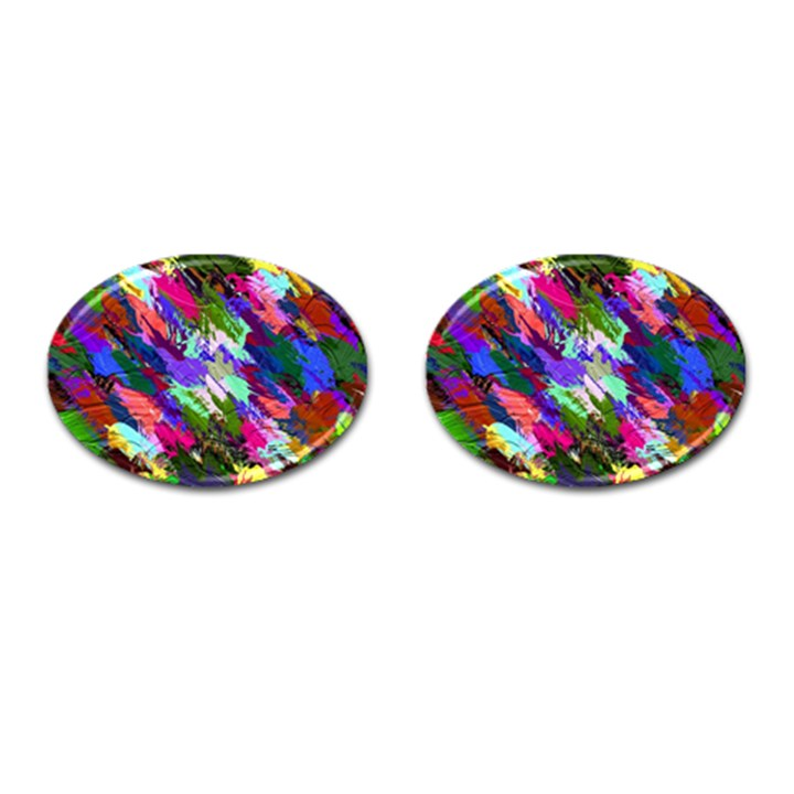 Tropical Jungle Print And Color Trends Cufflinks (Oval)