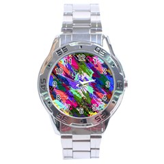 Tropical Jungle Print And Color Trends Stainless Steel Analogue Watch by Nexatart