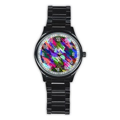 Tropical Jungle Print And Color Trends Stainless Steel Round Watch by Nexatart