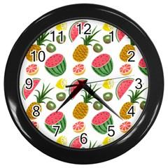 Fruits Pattern Wall Clocks (black) by Nexatart