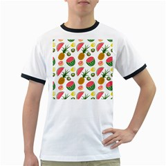 Fruits Pattern Ringer T Shirts