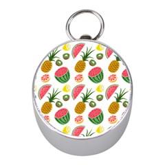 Fruits Pattern Mini Silver Compasses