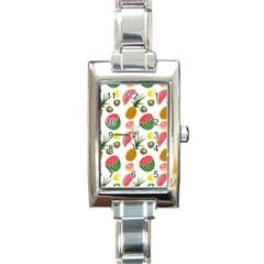 Fruits Pattern Rectangle Italian Charm Watch