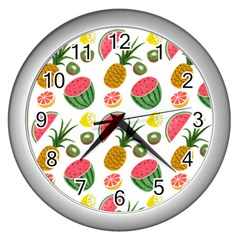 Fruits Pattern Wall Clocks (silver)  by Nexatart