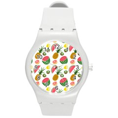 Fruits Pattern Round Plastic Sport Watch (m) by Nexatart