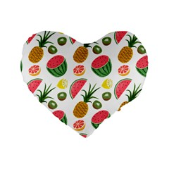 Fruits Pattern Standard 16  Premium Heart Shape Cushions