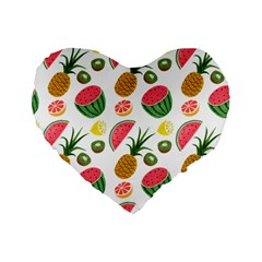 Fruits Pattern Standard 16  Premium Flano Heart Shape Cushions by Nexatart