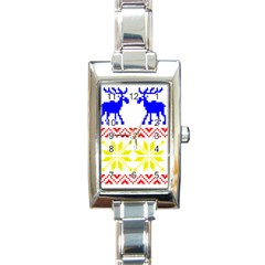Jacquard With Elks Rectangle Italian Charm Watch