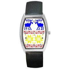 Jacquard With Elks Barrel Style Metal Watch by Nexatart