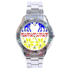 Jacquard With Elks Stainless Steel Analogue Watch by Nexatart