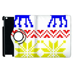 Jacquard With Elks Apple Ipad 3/4 Flip 360 Case by Nexatart