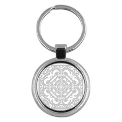 Mosaic Pattern Cyberscooty Museum Pattern Key Chains (round)  by Nexatart