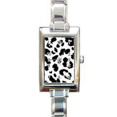 Leopard Skin Rectangle Italian Charm Watch by Nexatart