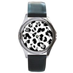 Leopard Skin Round Metal Watch