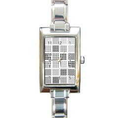 Retro Patterns Rectangle Italian Charm Watch