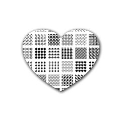 Retro Patterns Heart Coaster (4 Pack)
