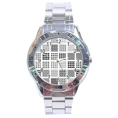 Retro Patterns Stainless Steel Analogue Watch