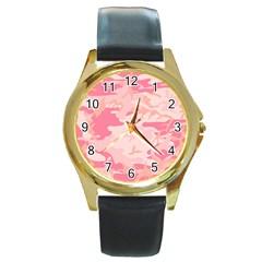 Pink Camo Print Round Gold Metal Watch