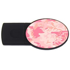 Pink Camo Print Usb Flash Drive Oval (4 Gb) by Nexatart
