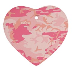 Pink Camo Print Heart Ornament (two Sides) by Nexatart