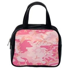 Pink Camo Print Classic Handbags (one Side)