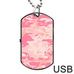 Pink Camo Print Dog Tag Usb Flash (one Side) by Nexatart
