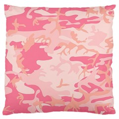 Pink Camo Print Large Flano Cushion Case (two Sides)