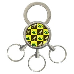 Bird And Snake Pattern 3 Ring Key Chains by Nexatart