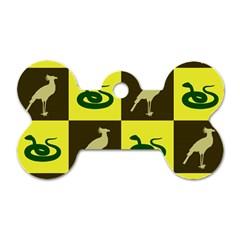 Bird And Snake Pattern Dog Tag Bone (one Side)