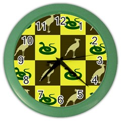 Bird And Snake Pattern Color Wall Clocks by Nexatart
