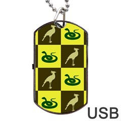 Bird And Snake Pattern Dog Tag Usb Flash (one Side) by Nexatart
