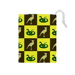Bird And Snake Pattern Drawstring Pouches (medium)  by Nexatart