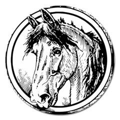 Framed Horse Magnet 5  (round)