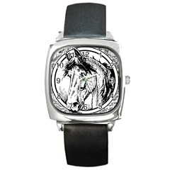 Framed Horse Square Metal Watch