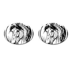 Framed Horse Cufflinks (oval) by Nexatart