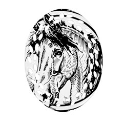 Framed Horse Oval Filigree Ornament (two Sides) by Nexatart