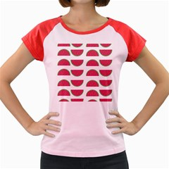 Watermelon Pattern Women s Cap Sleeve T Shirt