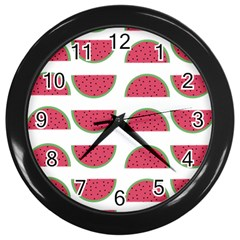 Watermelon Pattern Wall Clocks (Black) by Nexatart