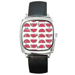 Watermelon Pattern Square Metal Watch by Nexatart
