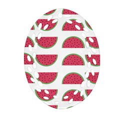 Watermelon Pattern Oval Filigree Ornament (two Sides) by Nexatart