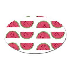 Watermelon Pattern Oval Magnet by Nexatart
