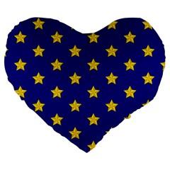 Star Pattern Large 19  Premium Flano Heart Shape Cushions