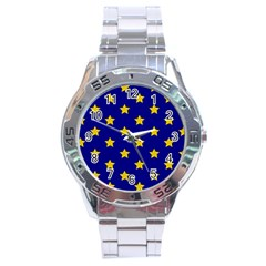 Star Pattern Stainless Steel Analogue Watch by Nexatart